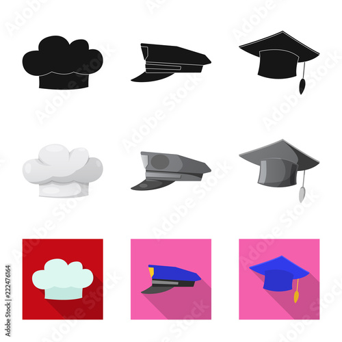 Isolated Object Of Headgear And Cap Sign Set Of Headgear And