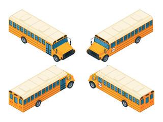 School bus isometric. Various views of school bus. Vector school bus transportation illustration