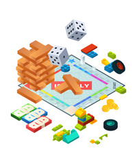Composition of various boards games. Isometric background pictures of board games. Wooden game block, pyramid constructor, dice and cube illustration