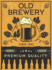 Retro poster of brewery. Vector template illustration. Beer brewery banner, restaurant pub poster
