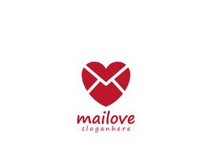 Mail Love Icon Logo Design Element
