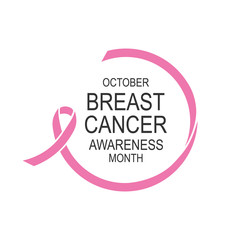 Vector image of breast cancer awareness ribbon.Poster design.October is cancer awareness month.