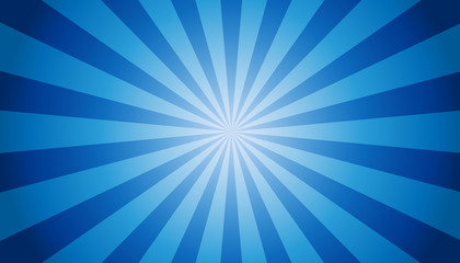 Blue Sunburst Background - Vector Illustration