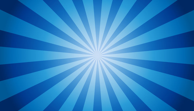 Blue Sunburst Background - Vector Illustration