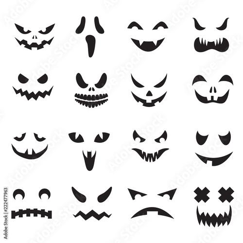 Pumpkin Faces Halloween Jack O Lantern Face Silhouettes Monster