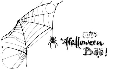 Spider web and text happy halloween boo greeting card