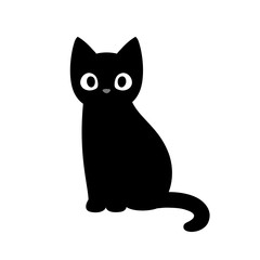Cute cartoon black cat