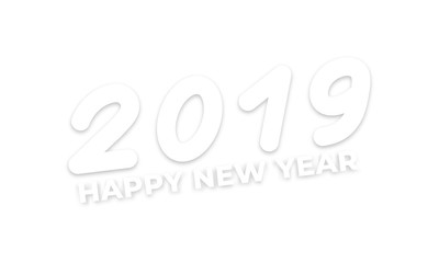 Happy New Year 2019. Typography with realistic shadows for New Year celebration