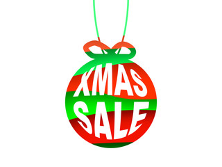 Xmas sale concept. Paper christmas ball on a 3d green and red layers. Vector illustration