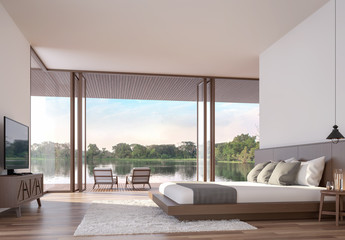 Contemporary bedroom 3d render,The Rooms have wooden floors,white wall,furnished with white fabric bed.There are large open window,Overlooks to wooden terrace and lake view.