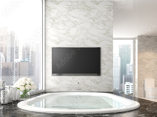 Phenomenal Luxury Bathroom With City View 3D Render There Are Black Download Free Architecture Designs Lukepmadebymaigaardcom