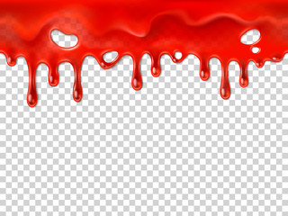 Seamless dripping blood. Halloween red bleed stain, bleeding bloody drips or ketchup drip drop realistic 3D vector illustration