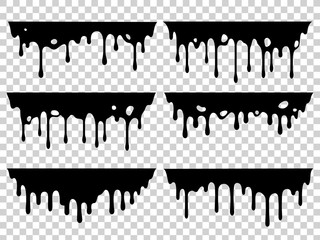 Dripping oil stain. Liquid ink, paint drip and drop of drippings stains. Black resin inked drops isolated vector silhouette set