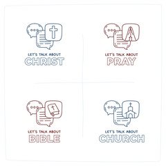 Let's talk about Christ, bible, church, pray doodle illustration dialog speech bubbles with icon
