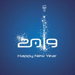 New Year 2019 cyberspace firework white blue background