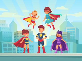 Superhero kids team. Comic hero kid in super costume with cloak on urban roof. Children superheroes vector cartoon illustration