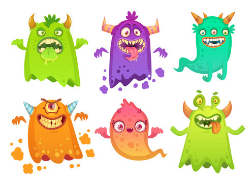 Cartoon monster ghost. Angry scary monsters mascot characters, goofy alien creature and gremlin character vector illustration