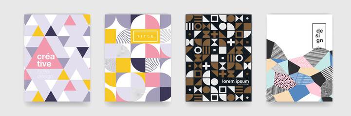 Abstract geometric pattern background texture for poster cover design. Minimal color vector banner template with circles, square Fotomurales