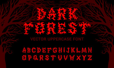 "Vector typeface ""Dark forest"" inspired by death metal music culture. Good for digital lettering, branding materials, t-shirt, print, logo, poster, flyer, album cover and more."