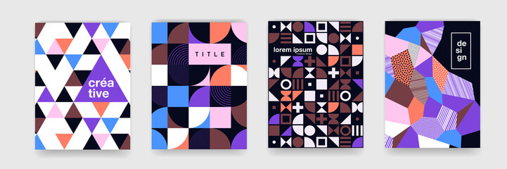 Abstract geometric pattern background texture for poster cover design. Minimal color vector banner template with circles, square