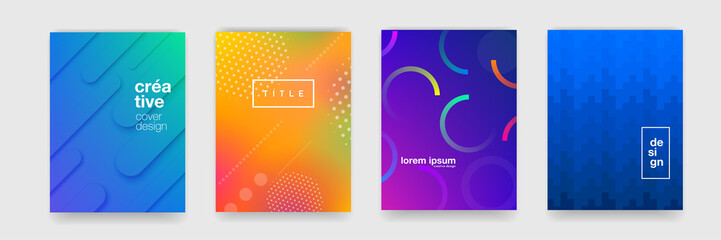 Abstract trendy gradient flowing geometric pattern background texture for poster cover design. Minimal color gradient banner template. Modern vector wave shape for brichure Fototapete