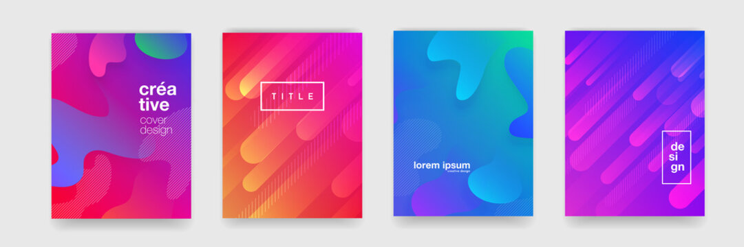 Gradient flowing geometric pattern background texture for poster cover design. Minimal color abstract gradient banner template. Modern vector wave shape for brichure