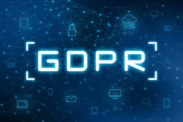 GDPR with digital icon and futuristic technology background