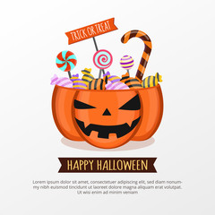 Jack O Lantern Candy Bucket on white background. Happy Halloween invitation card party design template. Halloween banner create by vector.