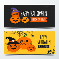 Halloween banner design template decorate with pumpkin create by vector.