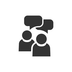 People with speech bubble icon in flat style. Business agreement vector illustration on white isolated background. Partnership talk business concept.