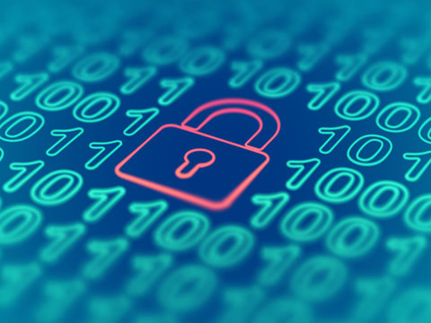 Data secure concept: red closed padlock on binary code background. Cyber security and protection of networks in the age of digital information. Internet login visualization. EPS 10 vector illustration