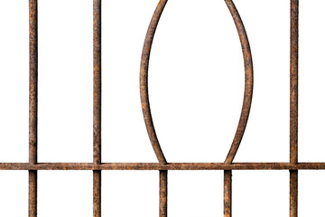 Broken old prison rusted metal bars isolated on white background, concept of escape