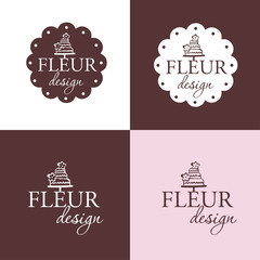 Set of vintage labels and elements. Set of labels or Stickers . Logo for bakery, pastry, macaro, candy shop - Design Template. Vector illustration.