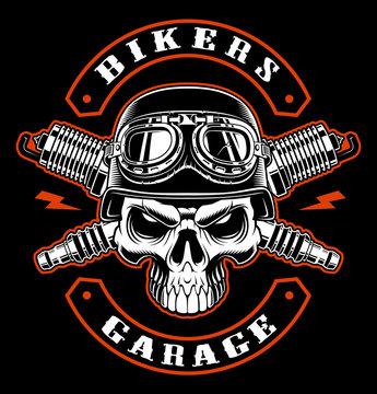 Biker  skull and crossed spark plugs.