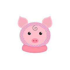 Little funny piglet in hat and collar. Symbol of the new year