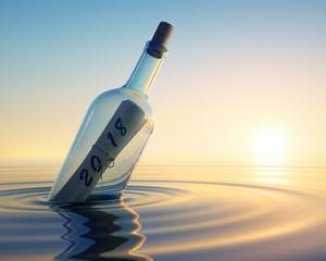 Flaschenpost 2018 im Sonnenuntergang