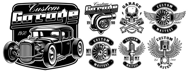 Car service badges.