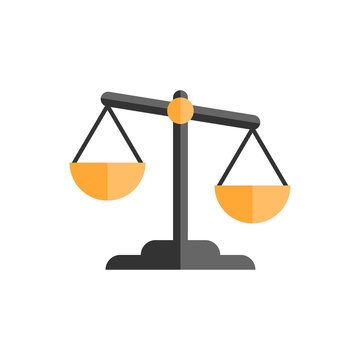 Scale comparison icon in flat style. Balance weight vector illustration on white isolated background. Scale compare business concept.