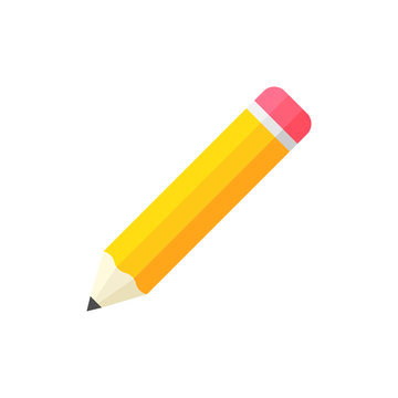 Realistic yellow wooden pencil with rubber eraser icon in flat style. Highlighter vector illustration on white isolated background. Pencil business concept.