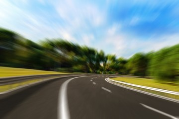 Colorful highway road speed lines texture background, radial motion blur / zooming effect