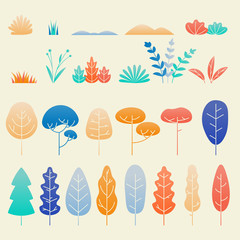 Leaves flat design isolated set. Vector autumn tree leaf, plant twigs and flowers for fall nature flat illustration elements design