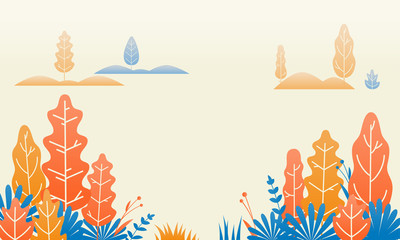Forest nature flat illustration design. Vector autumn tree leaves and plants flowers gradation landscape
