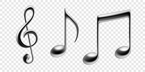 Music notes vector metallic isolated icons