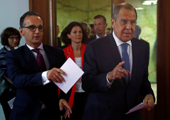 German Foreign Minister Maas and his Russian counterpart Lavrov arrive at a news conference at the foreign ministry in Berlin