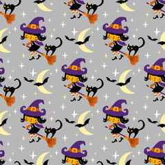Cute vector Halloween witch and black cat with moon and stars.