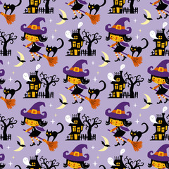 Halloween themed seamless vector pattern with cute witches, black cats, ghosts and haunted houses on purple background.