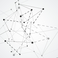 Abstract network connections with dots and lines