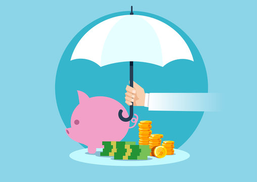 Vector of a hand holding umbrella to protect money