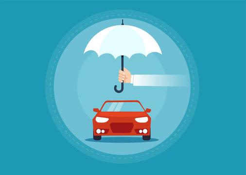 Vector of a car under umbrella as a symbol for insurance