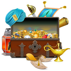 Vector Old Eastern Chest with Treasures